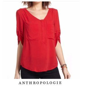 Anthropologie MAEVE Red Pocket Front Blouse
